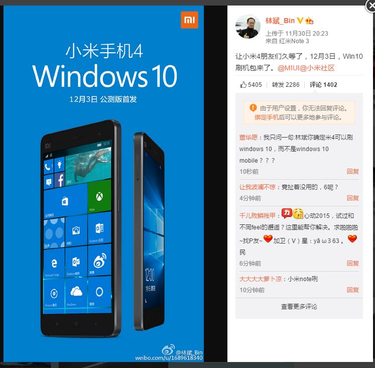 Xiaomi Mi 4 (4G) can soon run Windows 10 mobile! - Zing Gadget