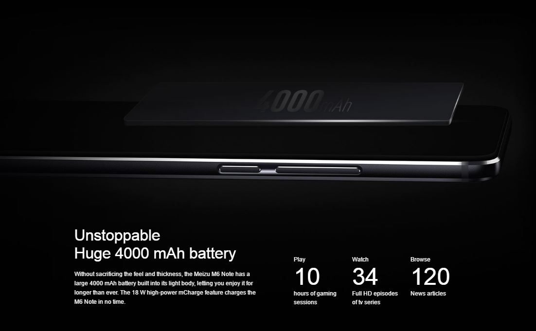 m6 note battery