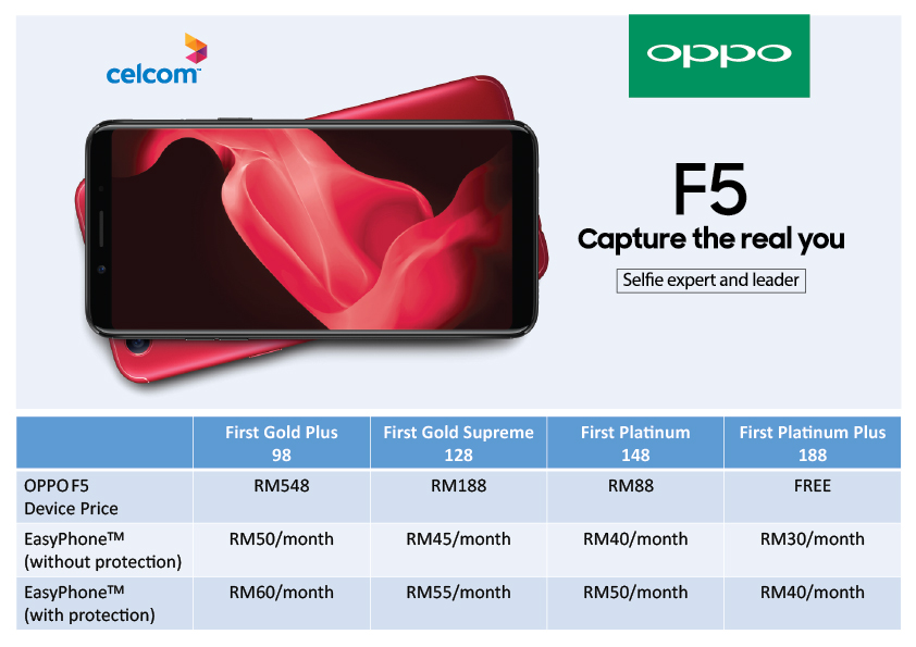 Celcom, Digi, Maxis now offers OPPO F5 with gifts bundle