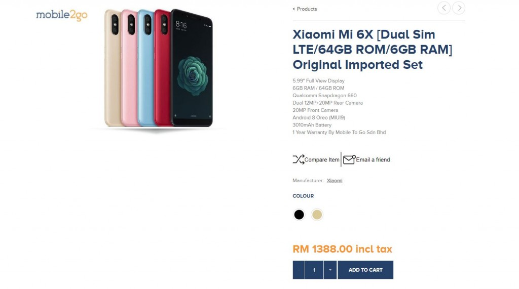xiaomi 6x mobile2go